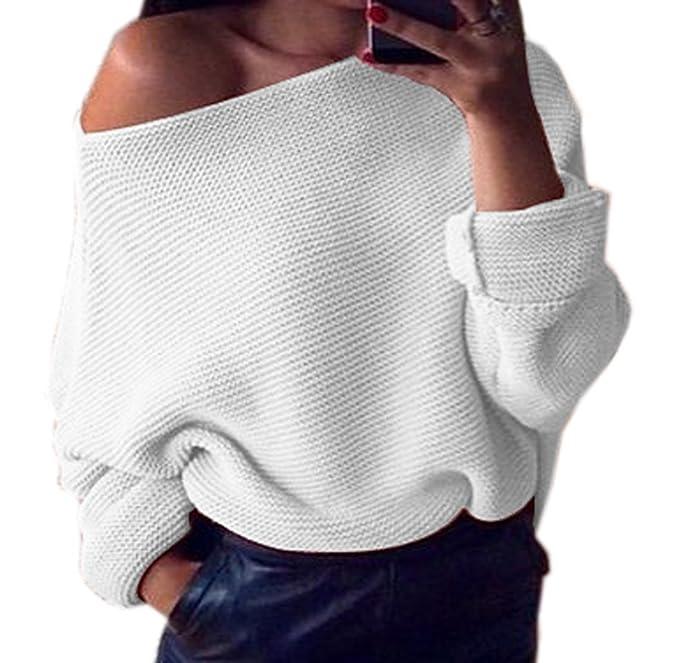 Mujeres Suéter Sweater Prendas de Punto Tops Sudaderas Moda Oblicuo Hombro Jerséis de Manga Larga Pulóver Blusa: Amazon.es: Ropa y accesorios