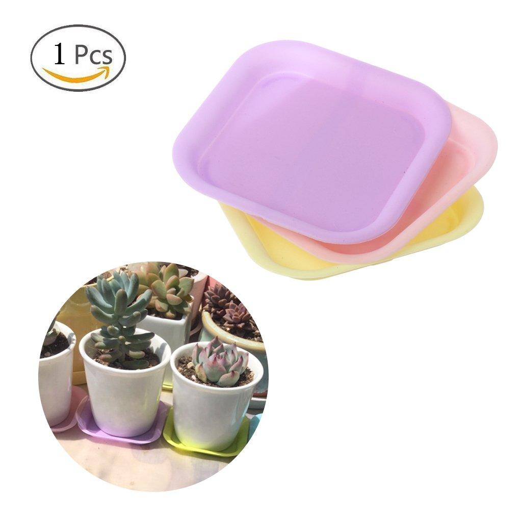 Jiamins Planter Tray Plastic, Flower Plant Pot Saucer Square Base Water Tray Base, Random Color (1)