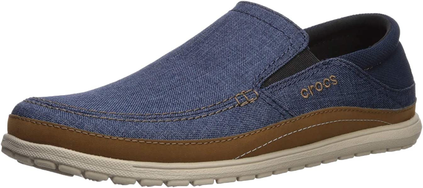 a2537cbf0 Crocs Men s Santa Cruz Playa Slip-On Loafer Navy Cobblestone 7 ...