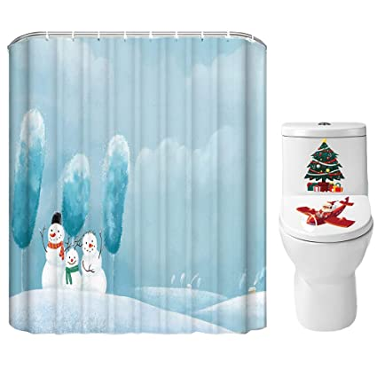 Xmas Agent Christmas Shower Curtain Set For Bathroom Sweet Snowman Family Greeting Winter Holiday