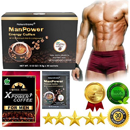 PureGano ManPower Natural Male Enhancement Energy Instant Black Coffee Mix 30 Sachets / Packs (3.5g/Sachet) Natural Herbal Product For Men - Boost Testosterone & Sex Drive - Increase Blood Flow ()
