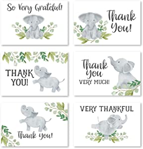 24 Greenery Elephant Thank You Cards With Envelopes, Kids or Baby Shower Thank You Note, Animal 4x6 Varied Gratitude Card Pack Party, Birthday, For Boy or Girl Children, Cute Appreciation Stationery