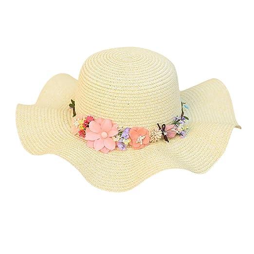 Woman Straw Beach Hat Flower Decoration Sun Cap Girl Fresh Wild