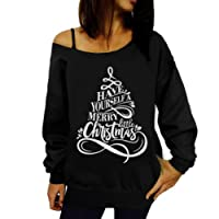 Women Christmas Off Shoulder Jumper Sweatshirt Mingfa Long Sleeve Santa Claus Floral Pullover Tops Blouse T-Shirt