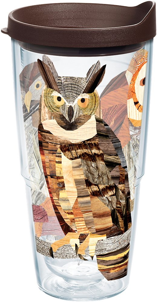 Tervis 1216535 Woodgrain Owls Tumbler with Wrap and Brown Lid 24oz, Clear