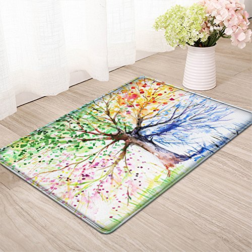 Kitchen Bathroom Bedroom (LEEVAN Accent Rug Modern No-Shedding Non-Slip Machine Washable Bath Mat Rectangle Area Rug Living Room Bedroom Bathroom Kitchen Soft Carpet Mat Home Decor (2 x 3 ft, Four Season Tree))