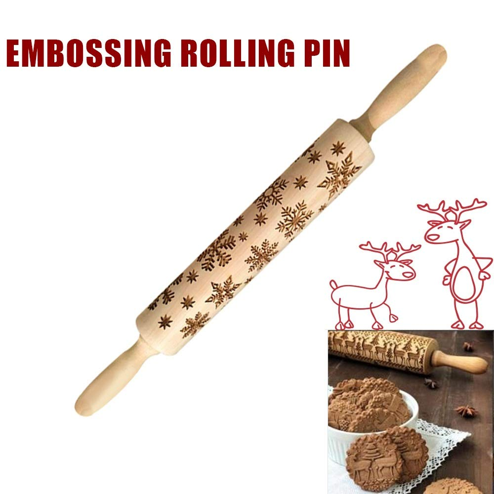 Christmas Embossing Rolling Pin Wooden Baking Cookies Biscuit Fondant Cake Dough Engraved Roller Kitchen Tool 43cm Reindeer