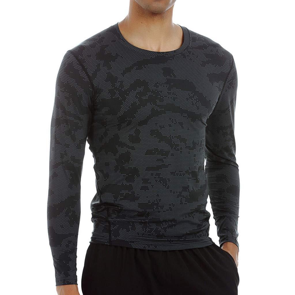 Easytoy メンズコンプレッションシャツ スポーツベースレイヤー 長袖コンプレッションタイツ シャツ 筋肉 フィットネス ワークアウト ランニング ラッシュガード Asain Size:XXL ブラック B07KXX27MW