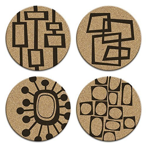 Mid Century Modern Retro Abstract Art Cork Drink Coaster Gift Set of 4 61axnL3X9 L