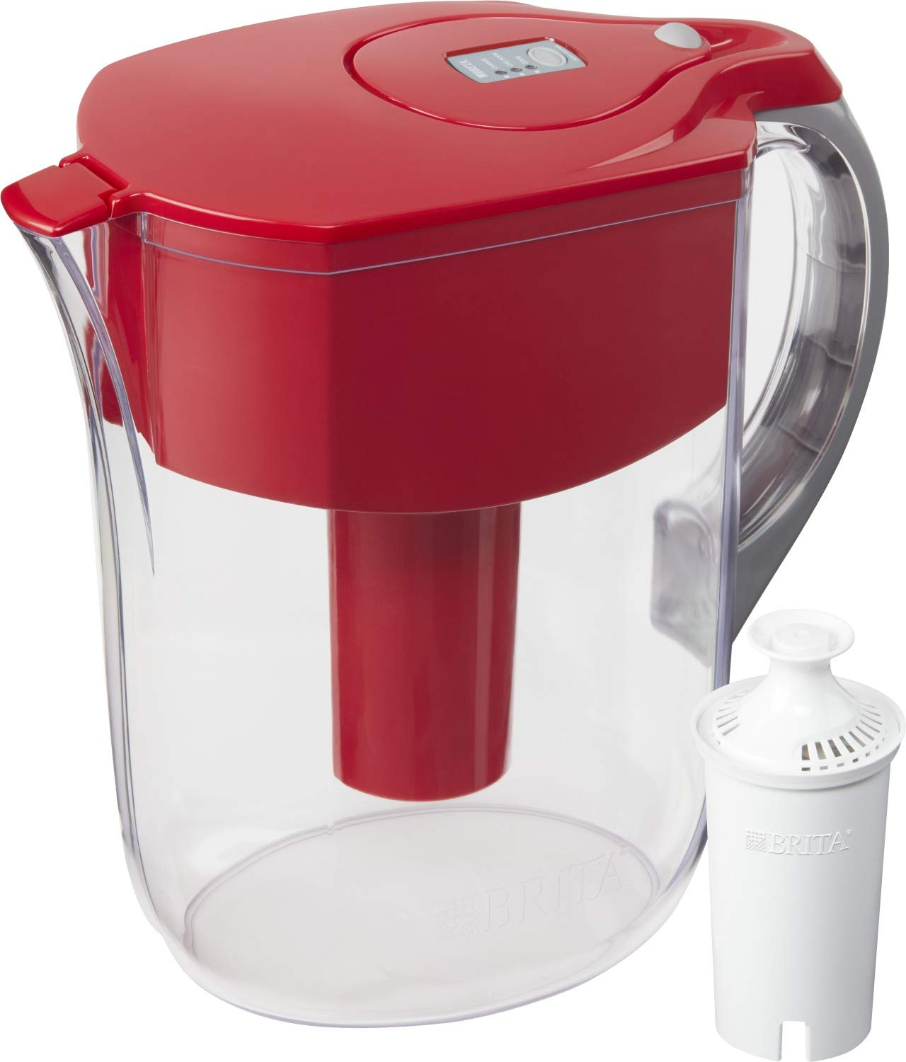 Brita Grand Pitcher with 1 Filter, Large 10 Cup, Red