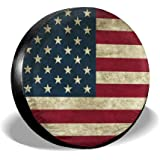 Tire Cover American Flag Reclaimed Wood Potable Polyester Universal Spare Wheel Tire Cover Wheel Covers for Trailer RV SUV Tr