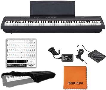 Yamaha P125B teclado digital de piano con 88 teclas con peso, con funda para piano Juliet, paño de pulido y pegatina para llave de piano (P125B), ...