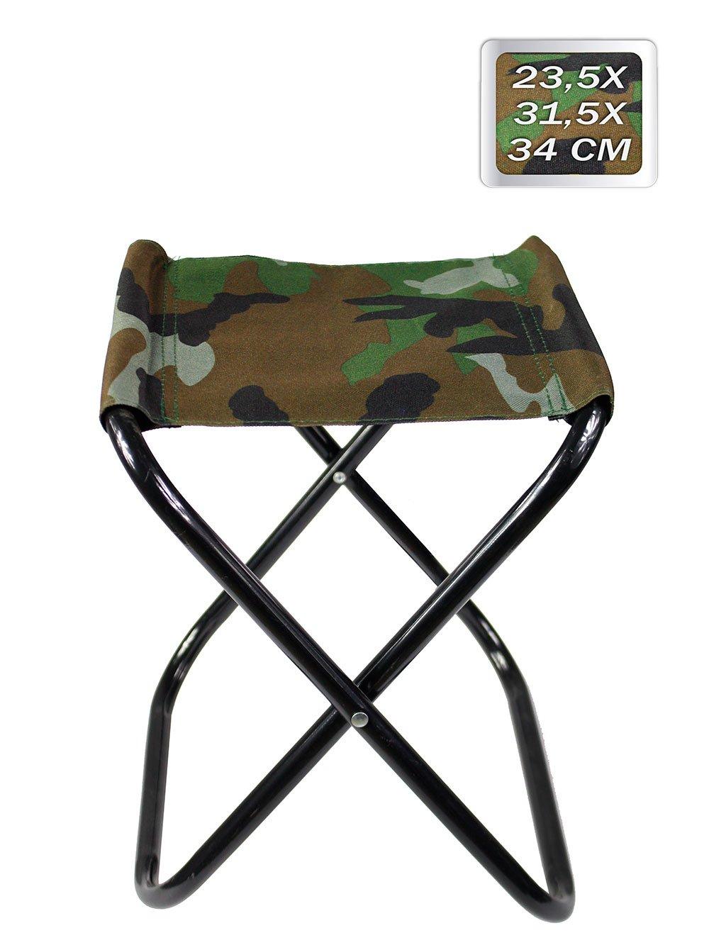 Vetrineinrete® Sgabello pieghevole militare portatile pratico e comodo per pesca campeggio montagna mare leggero e maneggevole sedia da portare in giro 34 x 27 cm fino a 85kg F31