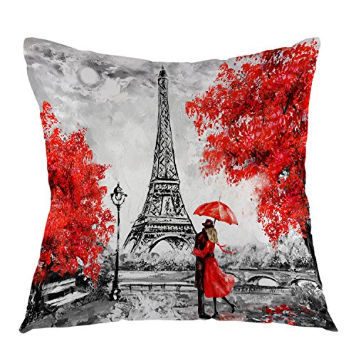 "oFloral Eiffel Tower Decorative Throw Pillow Cover Oil Paiting Romantic Love Autumn Maple Pillow Case Square Cushion Cover 18""X18"" Red Grey"