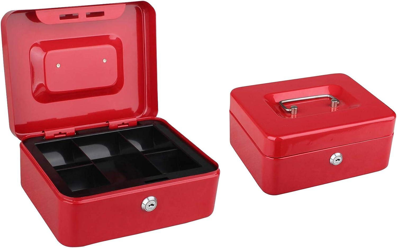 Tech Traders TTCB Cassetta portavalori in metallo con vassoio per banconote 20 cm 2 chiavi