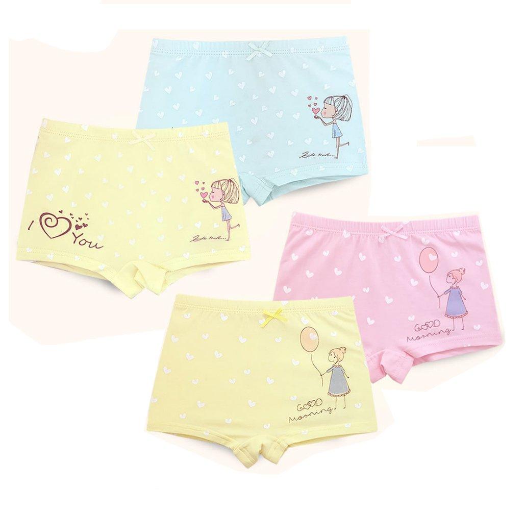 2-8 Years Girls Mini Heart Undies I Love You Boyshorts Dress Underwear 4 Piece