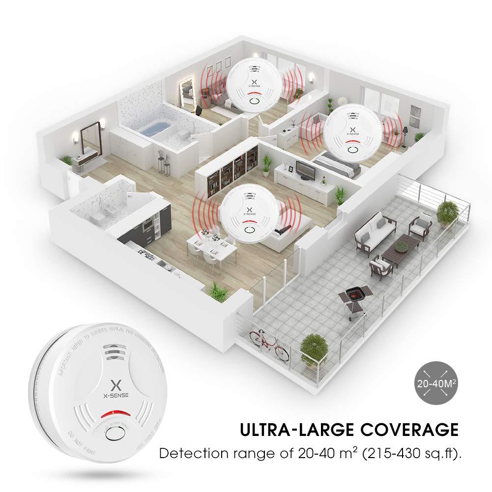 Alarma de Humo X-SENSE SD11, Detector Fotoeléctrico de Humo con Alarma de Incendio Inteligente, 10 Años de Duración de la Batería y Chequeo Automático, ...