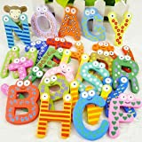 timeracing 26pcs Colorful Alphabet Magnetic Letters A-Z Wooden Fridge Magnets Baby Kid Education Toys Intellection Development Toys