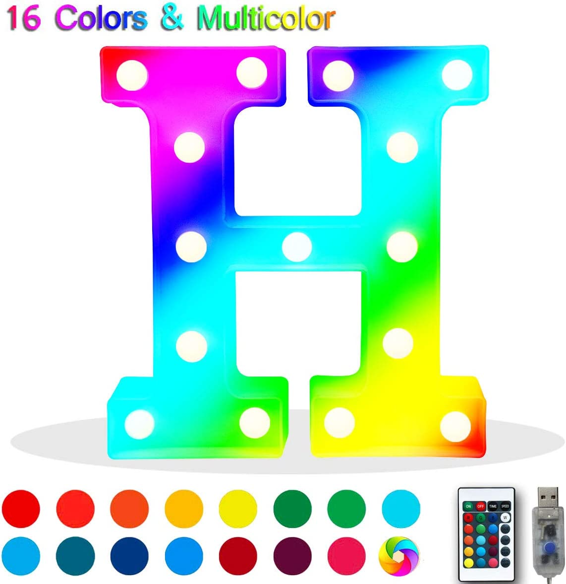 Oycbuzo Colorful LED Marquee Letter Lights with USB Plug,Light Up 26 Alphabet Letters Name Signs - Multi Color Changing Remote Timer Home Bar Christmas Decor