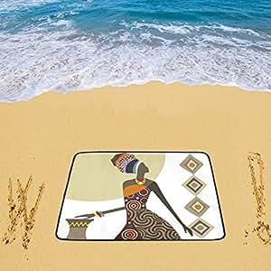 "Honey Day House Custom–personalizado playa mujer africana 78""x 60"" playa alfombrilla"