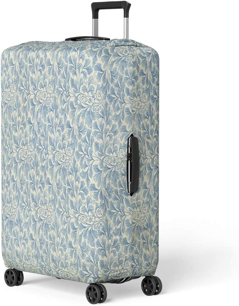 Pinbeam Luggage Cover Endpaper Leaf Floral Pattern Vintage Sourced From Antique Travel Suitcase Cover Protector Baggage Case Fits 18-22 inches