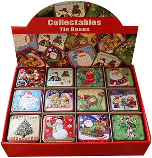 biteatey Caja de Lata cuadrada-12 Piezas Caja metálica pequeña Galletas, Dulces, Organizador de Galletas para Hornear: Amazon.es: Hogar