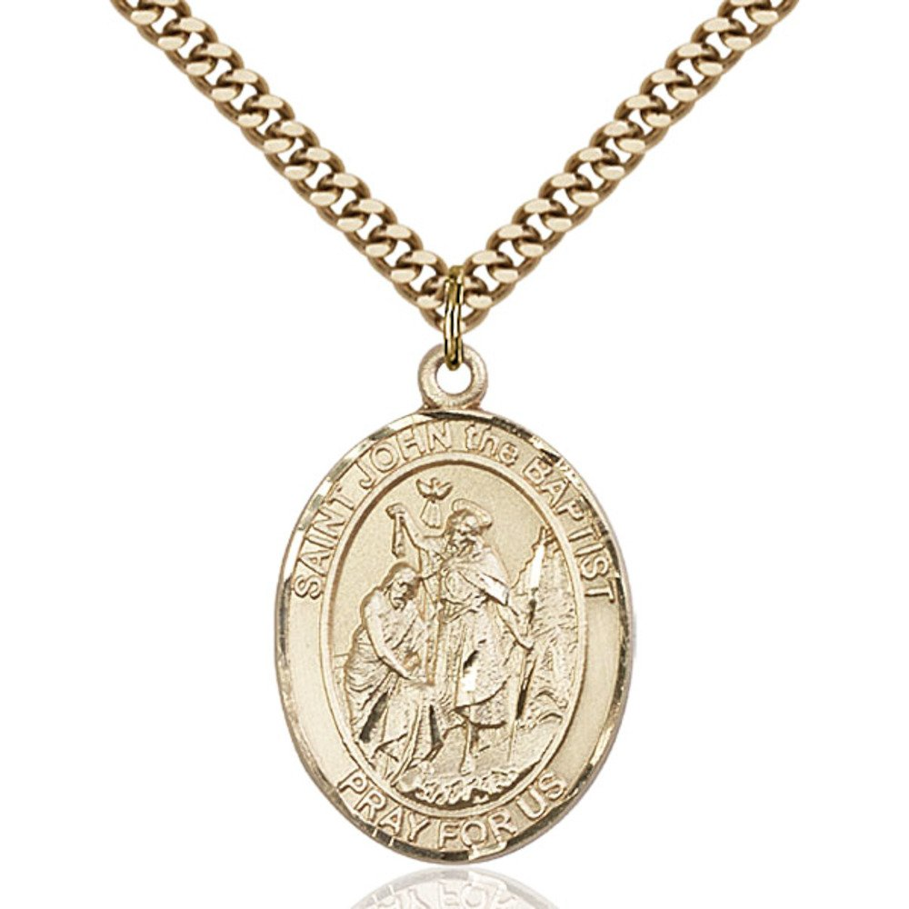 John The Baptist Hand-Crafted Oval Medal Pendant in 14kt Yellow Gold-Filled Bonyak Jewelry St