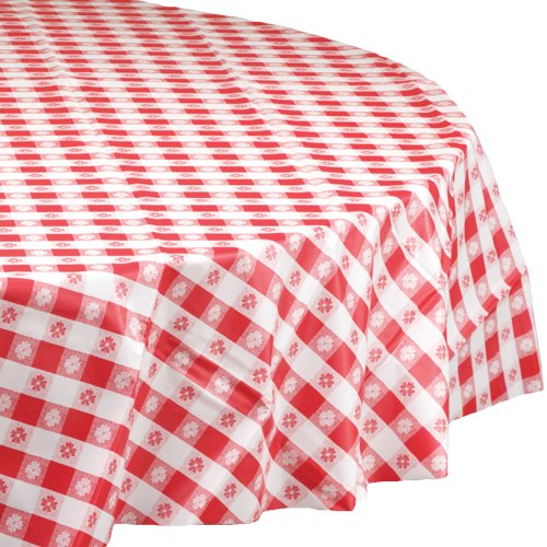 Hoffmaster 112016 Plastic Round Tablecover, 84'' Diameter, Red Gingham (Case of 12) by Hoffmaster