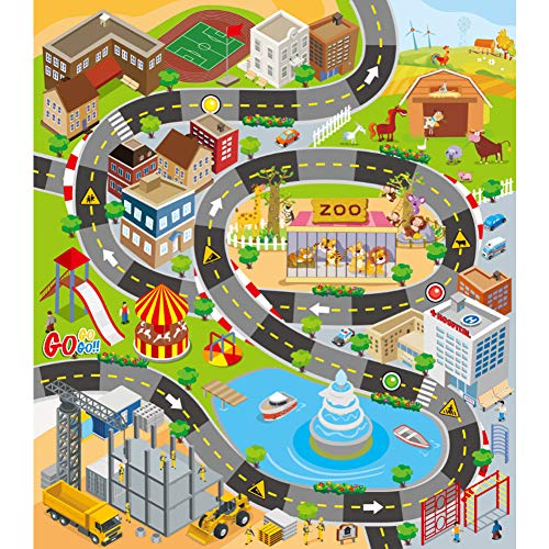 VANTIYAUS Kid Rug for Toy Cars,Kids Carpet Playmat,Great for Playing with Cars and Toys,Boys and Girls Educational Road Traffic Play Mat- Learn and Have Fun Safely