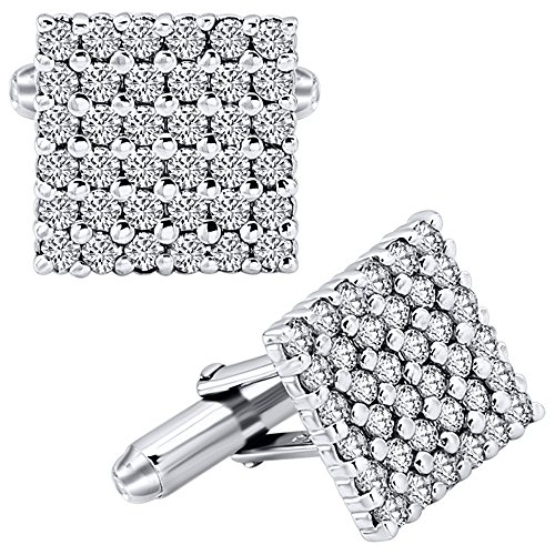 Cubic Zirconia Cufflinks (Men's Sterling Silver .925 Square Cufflinks with White Round Cubic Zirconia (CZ) Stones, Platinum Plated. 15 mm Square. By Sterling Manufacturers)