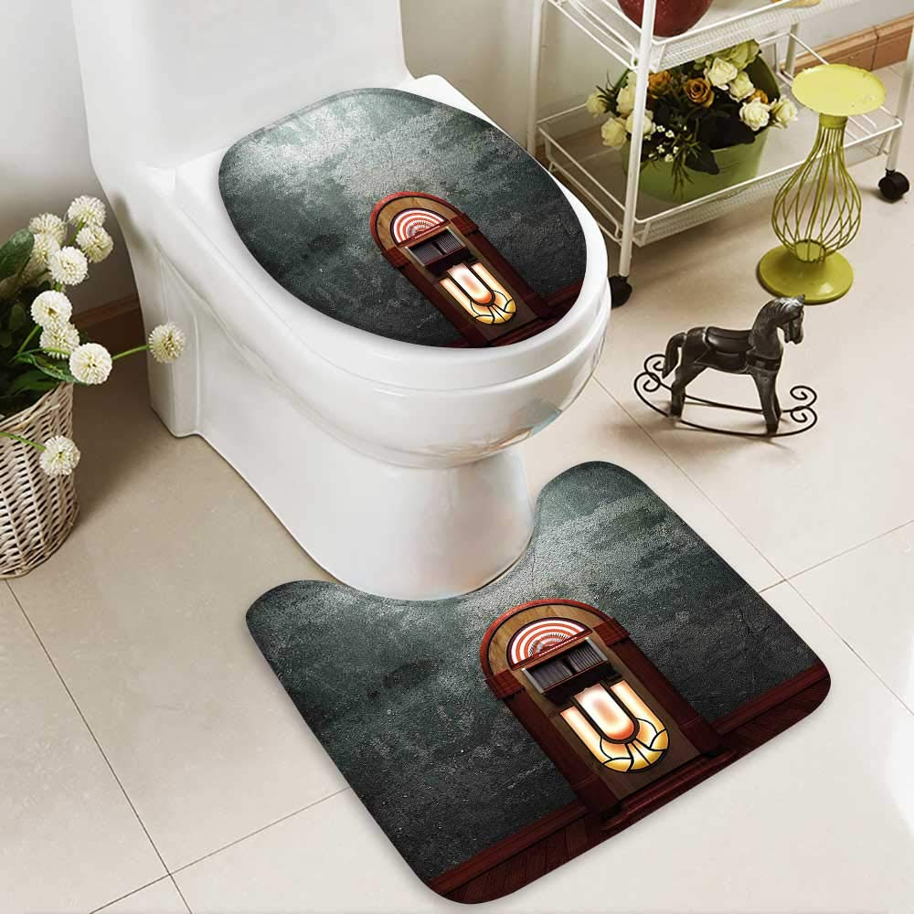 SOCOMIMI Non Slip Bathroom Rugs Movie Theme Old Abandoned Home Antique Old Music Box Image Petrol Green Absorbent Cover