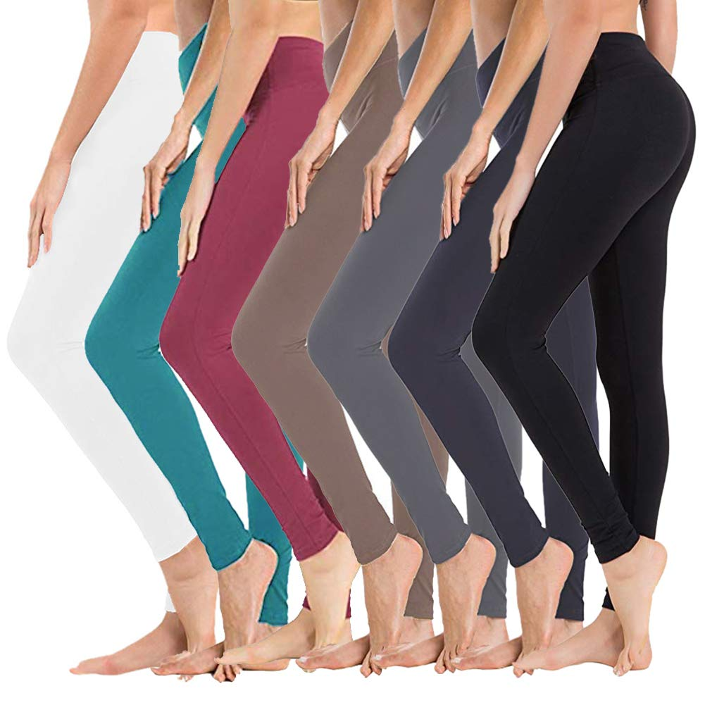 High Waisted Leggings for Women - Soft Athletic Tummy Control Pants for Running Cycling Yoga Workout - Reg & Plus Size (7 Pack Assort04, Extra Size (US 24-32)) by SYRINX