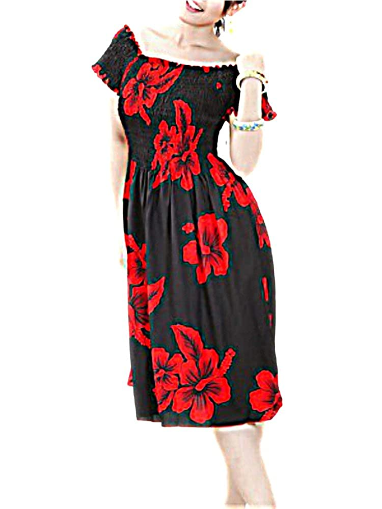 HAWAIIAN RED HIBISCUS FLOWERS BLACK CAP SLEEVE SUN DRESS- ONE SIZE (M-XL   See Measurements) f15S at Amazon Women s Clothing store  245a47e4e625