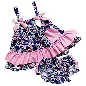 So Sydney Baby Toddler 2 Pc Tank Swing Top and Ruffle Diaper Cover Pants Outfit (M (6-12 Months), Floral Navy Blue & Pink)