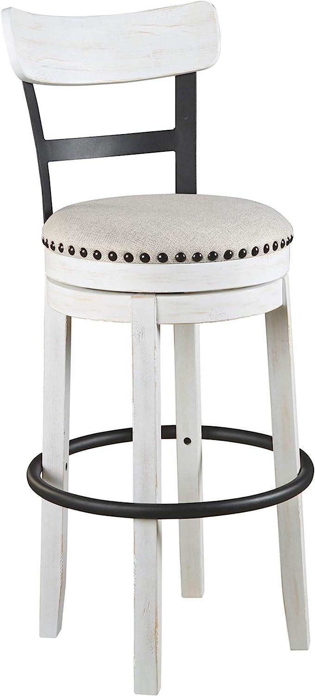 Amazon Com Signature Design By Ashley Valebeck 30 Modern Swivel Pub Height Barstool Whitewash Furniture Decor