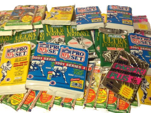 300 Vintage NFL Football Cards in Old Sealed Wax Packs - Perfect for New Collectors (Trading Card Wax Pack)