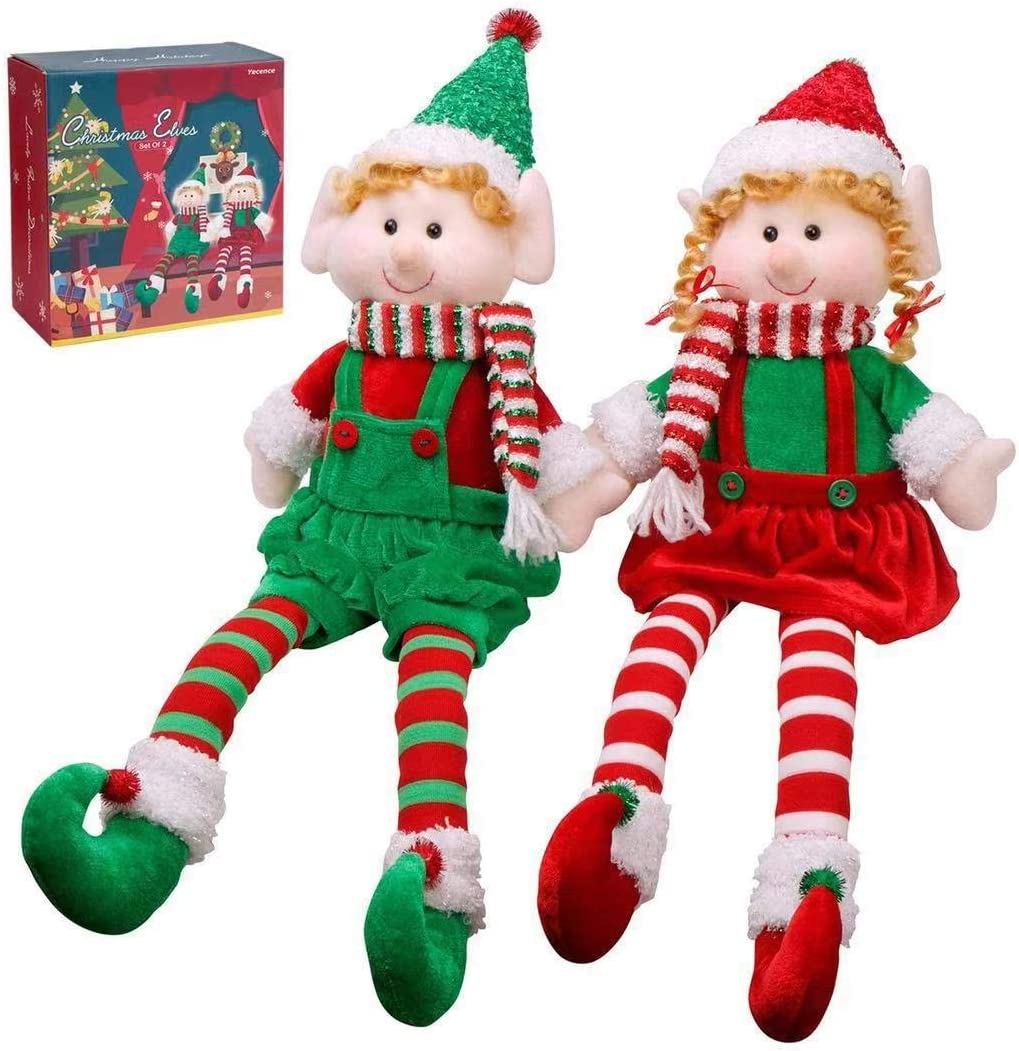 """Christmas Elves Decorations Dolls Big Plush Figurines Packed in Color Box Yecence 24"""" Soft Stuffed Holiday Ornaments Xmas Decor Adorable Gifts Boy and Girl Set of 2"""