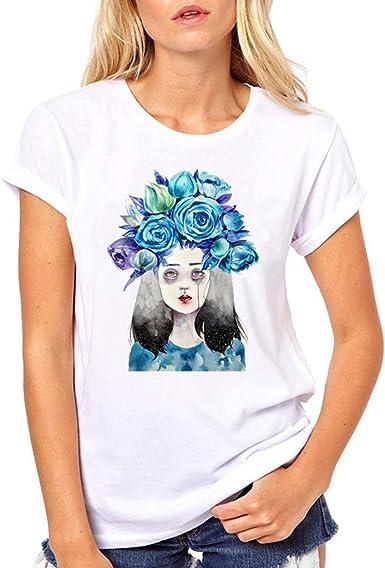 wyxhkj-Camisetas De Manga Corta con Estampado De Niña De Dibujos Animados para Mujeres Tops Blusas Camisas Casuales O-Cuello Camiseta Manga Corta Mujer Blanca: Amazon.es: Ropa y accesorios