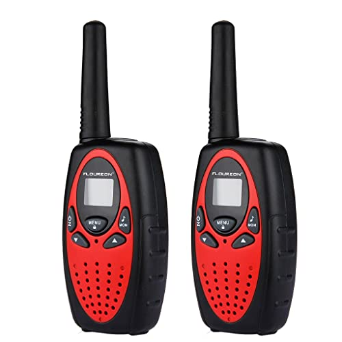 FLOUREON Twin Pack Walkies Talkies Two Way Radios Long Range 1-3 Mile Distance UHF Handheld Walkie Talk For Kids (Red)