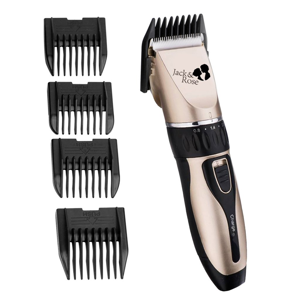 Jack & Rose Rechargeable Cordless Hair Clipper 9-piece Home Barber Kit Lithium Powered Hair Cutter Suitable for Family Using, Golden Color