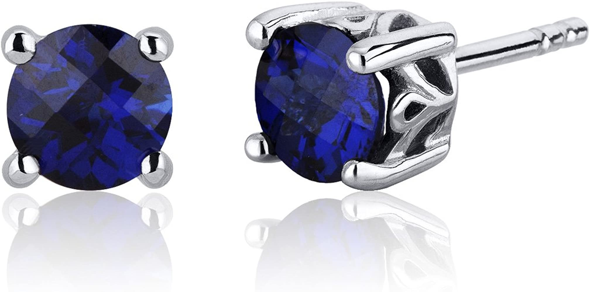 price for 1 pair Solid Sterling Silver black finish blue sapphire dangle earring