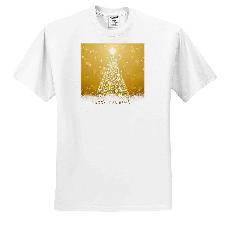 Merry Christmas Text Holidays Christmas Shining Christmas Tree on Yellow 3dRose Alexis Design T-Shirts Snowflakes