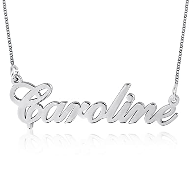 c4bbdf99440f5 Ouslier 925 Sterling Silver Personalized Name Necklace Pendant Custom Made  with Any Names 14
