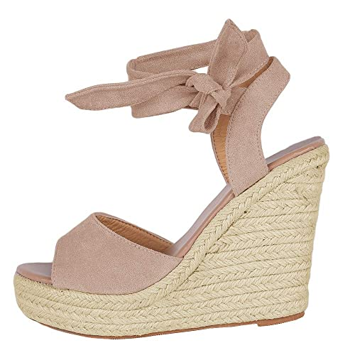 5996c22c868 Runcati Womens Espadrille Wedge Platform Peep Toe Sandal Lace Up Summer  Ankle Wrap Shoes Slingback Dress Shoes