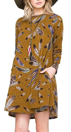 Top Design Online-Shop Neupreis Damen A-Linien Tunika, Minikleid mit Federn-Print, 2XL ...
