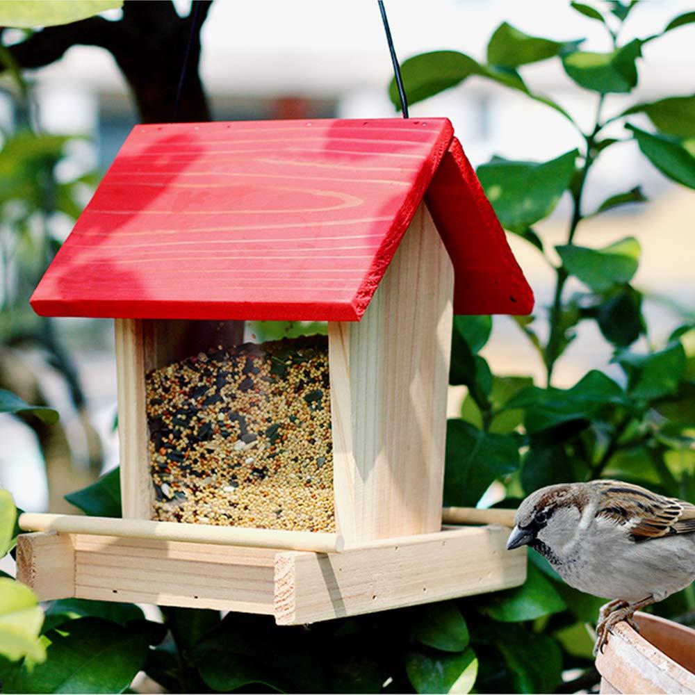 A ZDJR Bird Feeder, Outdoor Wild Wooden Bird Feeder, Log Cabin Bird Feeder, Great for Attracting Birds Outdoors, Backyard, Garden,C(2PCS)