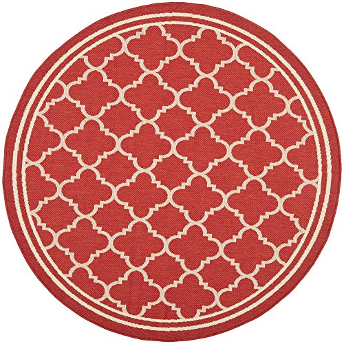 Safavieh Courtyard Collection CY6918 248 Red And Bone Indoor/ Outdoor Round  Area Rug (4u0027 Diameter)