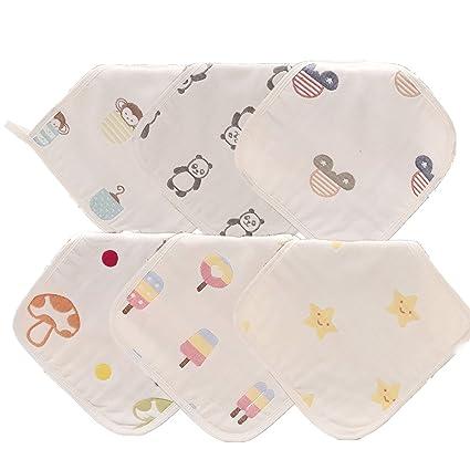 finalhome 6-Pack absorbente algodón orgánico de 6 capas Jacquard para toallitas de Gasa,