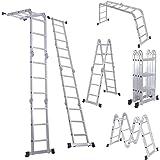 LUISLADDERS Folding Ladder Multi-Purpose Aluminium Extension 7 in 1 Step Heavy Duty Combination EN 131 Standard (12.5…