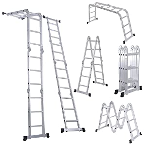 Luisladders Folding Ladder Multi-Purpose Aluminium Extension 7 in 1 Step Heavy Duty Combination EN 131 Standard (12.5 Feet)